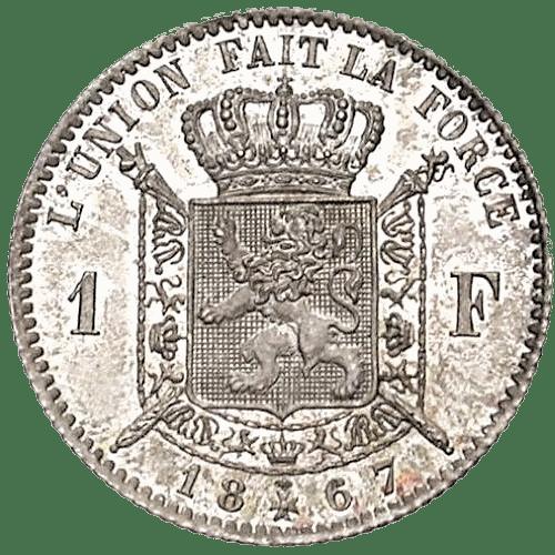 Léopold II 1 frank in massief zilver