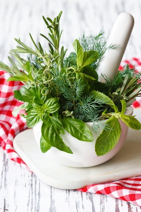 Mortar and herbs.