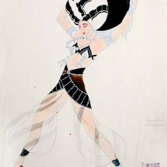 Pavel Froman, Kostimografska skica – Orijentalni ples, Orašar, Zagreb,1931., Arhiv Zavoda za povijest hrvatske književnosti, kazališta i glazbe HAZU
