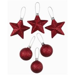 Kuusenpallo 3 kpl 40 mm tai tähti 3 kpl 70 mm punainen