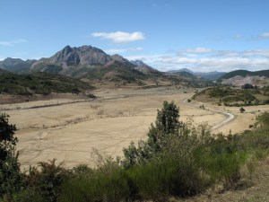 Dried up reservoir in front of some mountains is filled with tracks of large possibly hoofed mammals