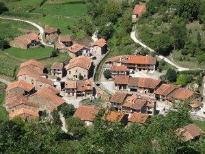 Aerial shot of a sleepy Spanish village