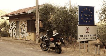 Italian border, German bike.
