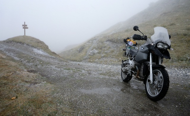 Bike surrounded by cloud and snow