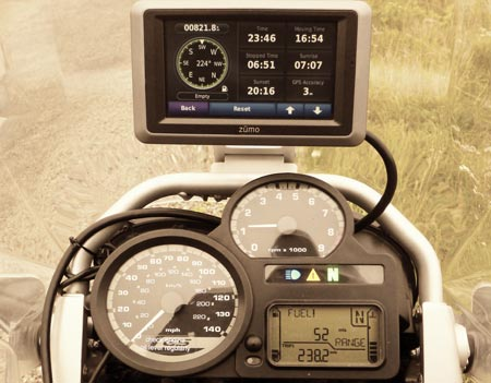 R1200GS fuel gauge shows 50 miles left, the best MPG to date for this bike