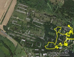 A yellow track is superimposed over an aerial image of the site, revealing how little was actually visited.