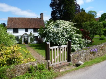 A typical English dwelling complete with lawn and topiary