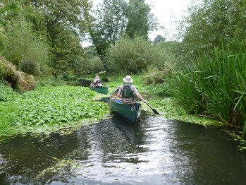 Two paddlers pass downstream