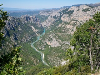 Looking down into the Gorge du Verdon from a squiggly mountain road