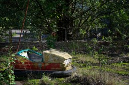 Rusty bumper car sitting in a weed-strewn fairground