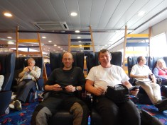 Two happy sailors aboard the ferry to Le Havre