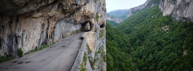 Precipitous balcony road above forest