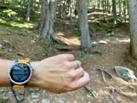 Garmin Fenix 5+ in front of some trees