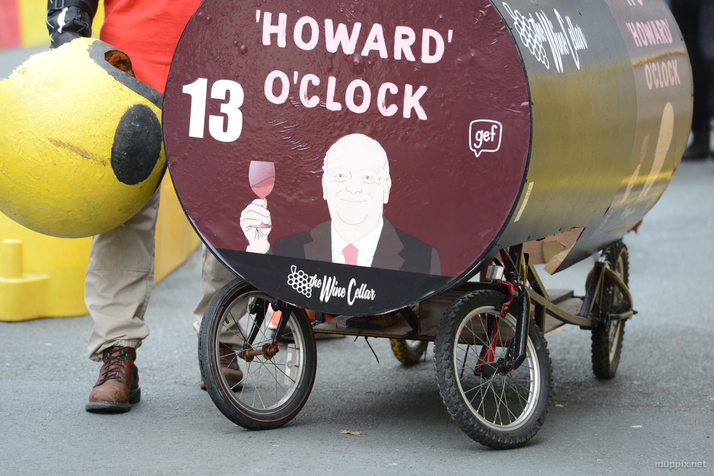 Detail image of one soapbox showing sketch of Howard Quayle, Chief Minister