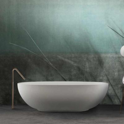 papier peint design salle de bain gris et bleu wind