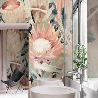 papier peint floral pour salle de bain cardi
