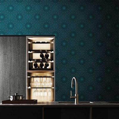 papier peint pour salle de bain bleu canard positano