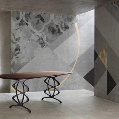 papier peint design salon gris et or livia
