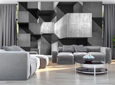 papier peint 3d effet beton industriel happen