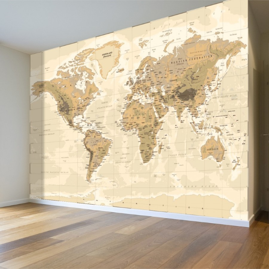 beige world map wall poster