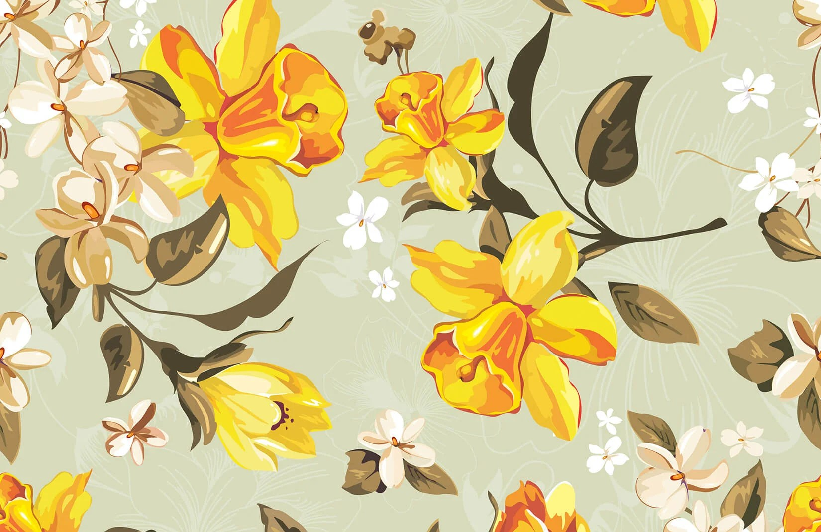 Vintage Illustrated Daffodils Wall Mural MuralsWallpaper