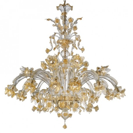 Rose Dorate Murano Glass Chandelier 12 6 Lights Transpa And Gold