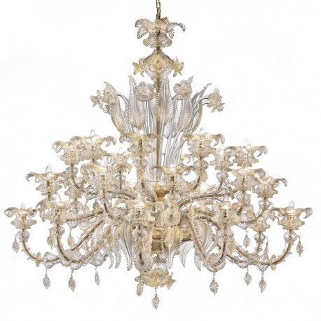 Prezioso Large Murano Glass Chandelier 8 Lights Transpa