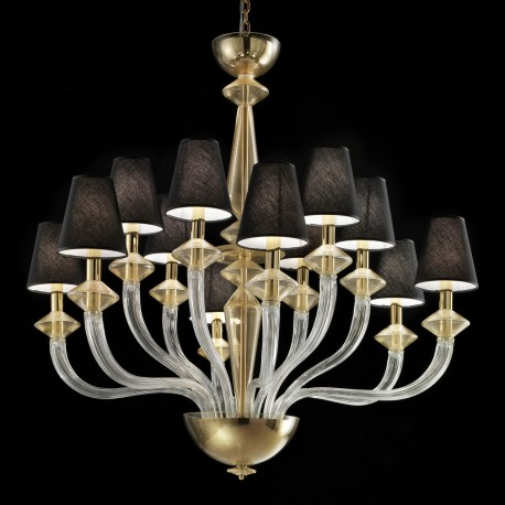 Keira Murano Glass Chandelier 6 Lights Transpa And Gold