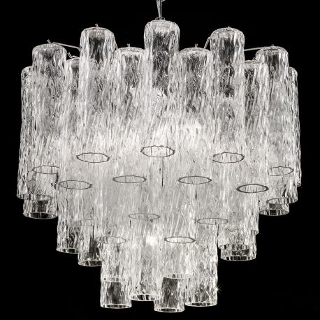 Tronchi Large Murano Glass Chandelier 7 Lights Transpa And Chrome