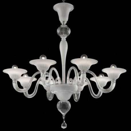 Doge 8 Lights Murano Chandelier Transpa White Silver
