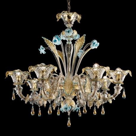 Primavera 8 Lights Murano Glass Chandelier Transpa Gold Blue Color