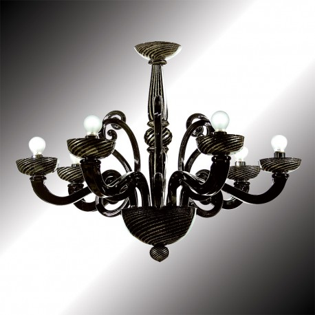 Medea 6 Lights Black And Gold Murano Glass Chandelier