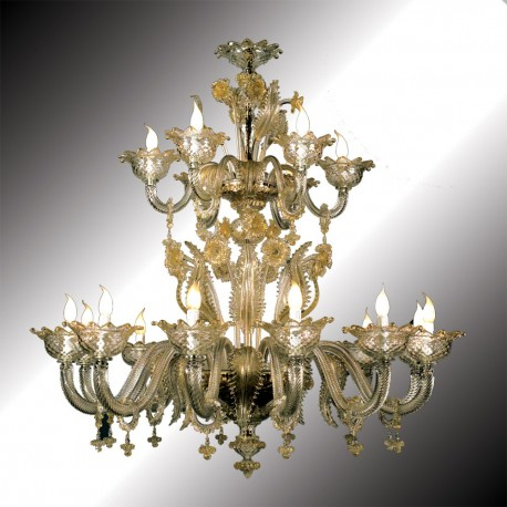 Torcello 12 6 Lights Transpa And Gold Murano Glass Chandelier