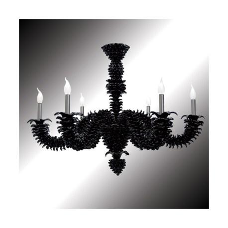 Narciso 6 Lights Black Murano Glass Chandelier