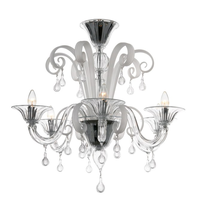 Modern Murano Chandelier Clear And Ilk White Glass