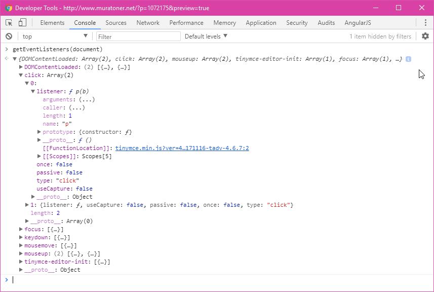 Chrome Developer Tools GetEventListeners Document