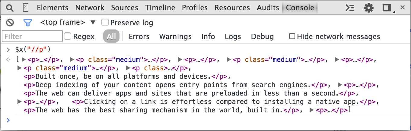 Chromer Developer Tools Xpath P Elements Selector