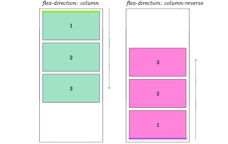 Flex Direction Column ve Column Reverse
