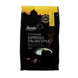 Jacobs Utvalgte Kaffe Espresso Italian Style hele bønner 500g