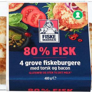 FISKEBURGER 80% TORSK&BACON 480G FM