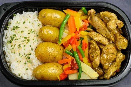 Kylling,grønnsaker,potet,ris