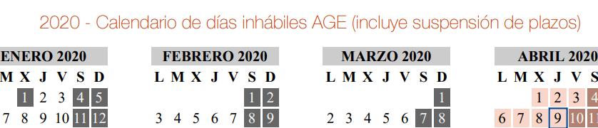 Calendario de días inhábiles 2020