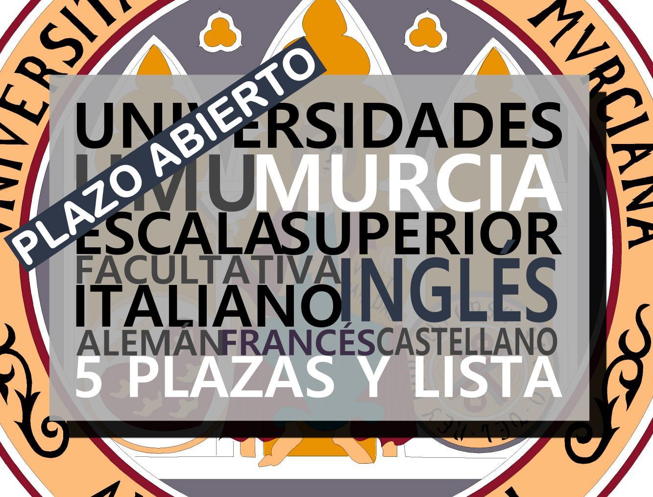 Universidad de Murcia convoca 5 procesos selectivos con lista de espera sobre idiomas