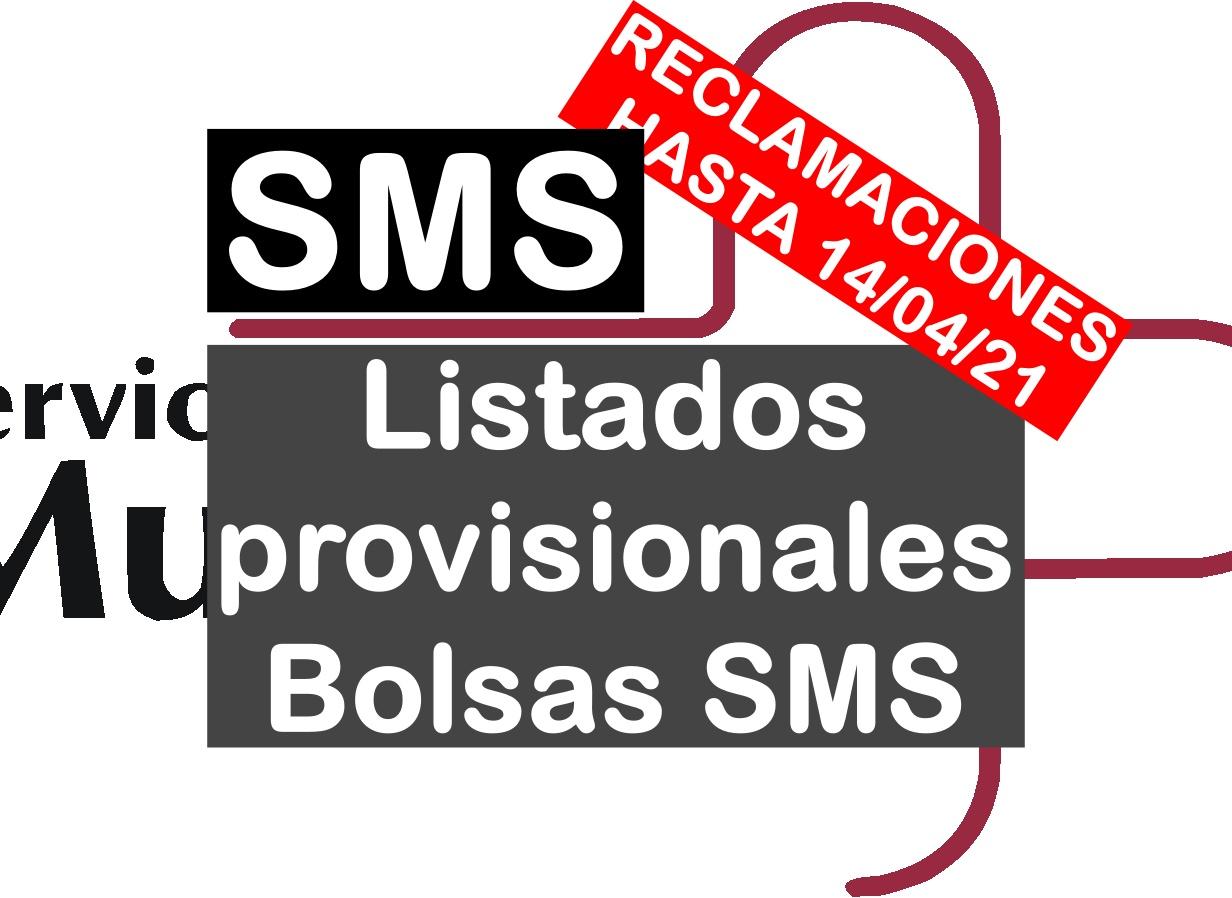 listados provisionales de admitidos en las bolsas del SMS