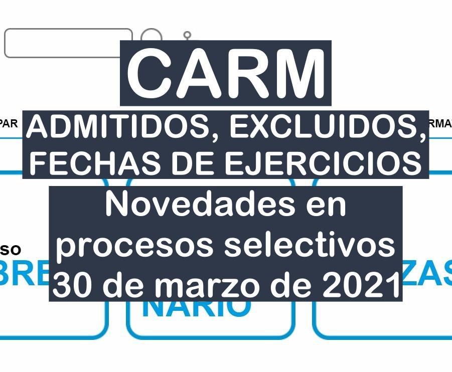 Novedades en varios procesos selectivos de la CARM del 30 de marzo de 2021