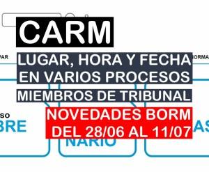 Novedades en varios procesos selectivos de la CARM del BORM del 28 de junio al 11 de julio de 2021