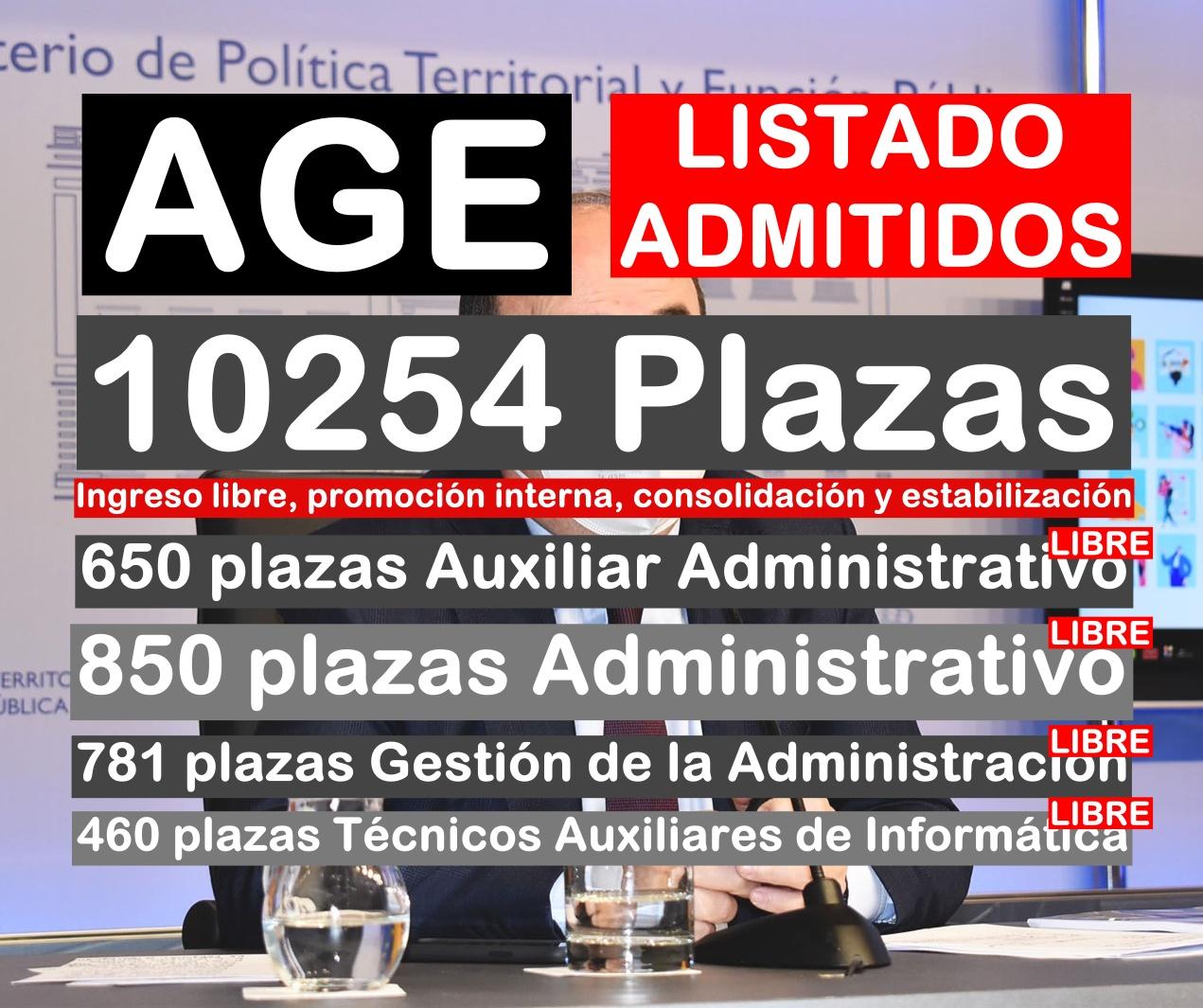 Lista de admitidos de las oposiciones a administrativos de la AGE 2021