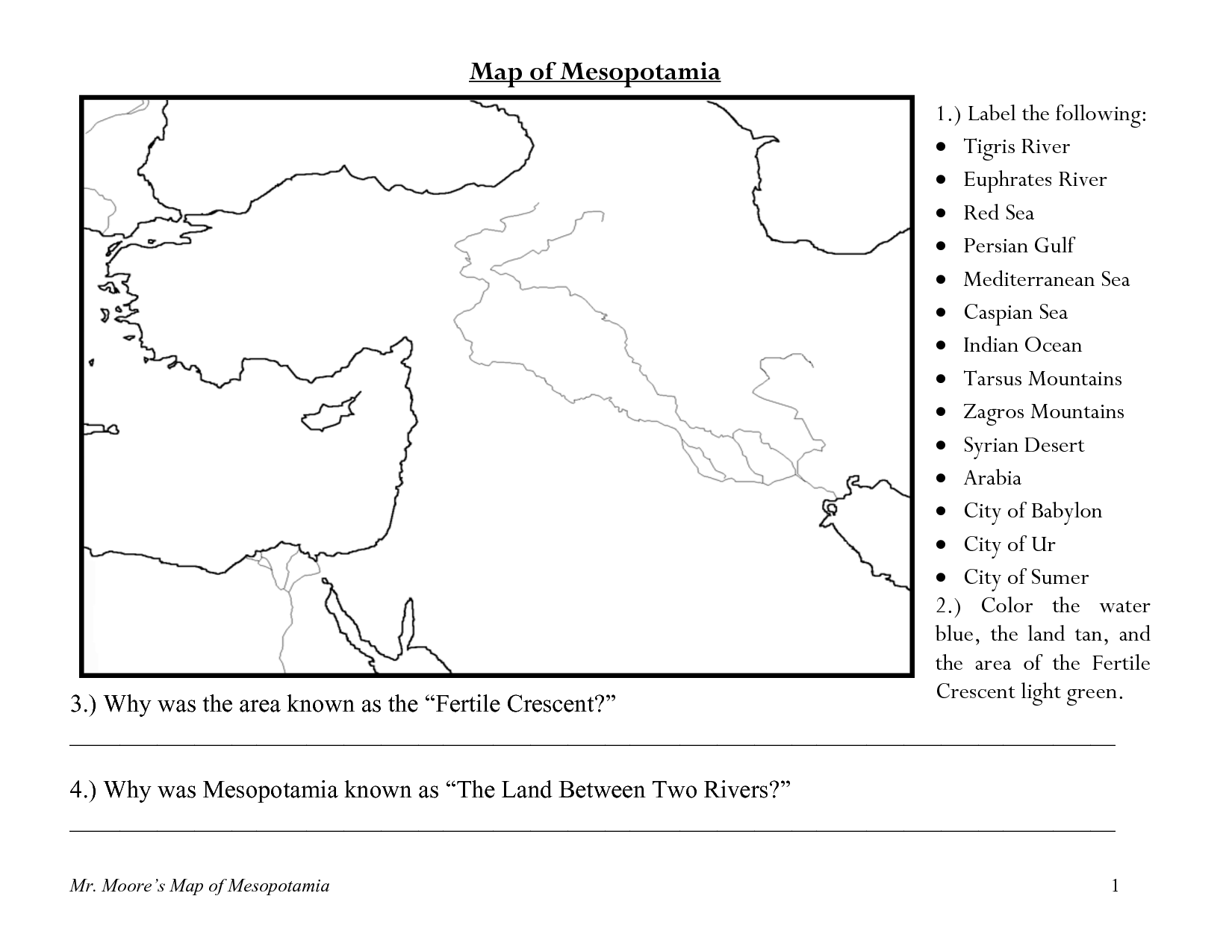 Fertile Crescent Map Worksheet Geography Africa Middle
