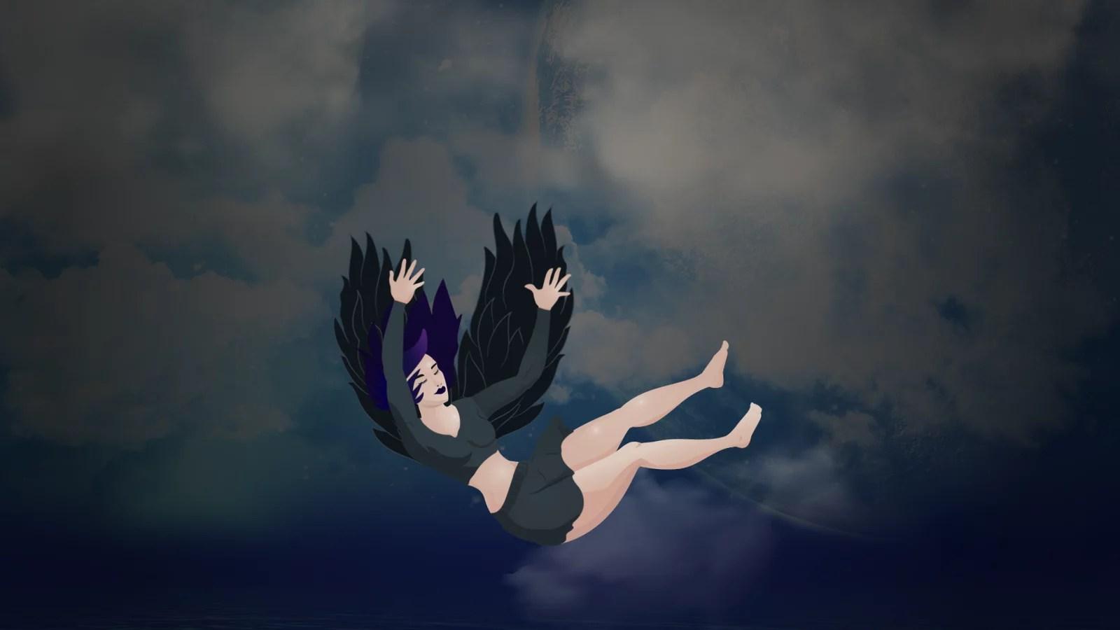 angel oscuro cayendo