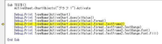 ChartFormat オブジェクトまでは取得できているが TextFrame2 オブジェクトの取得に失敗している